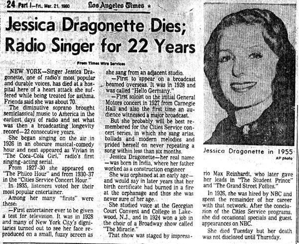 jessica dragonette s obituary from the la times